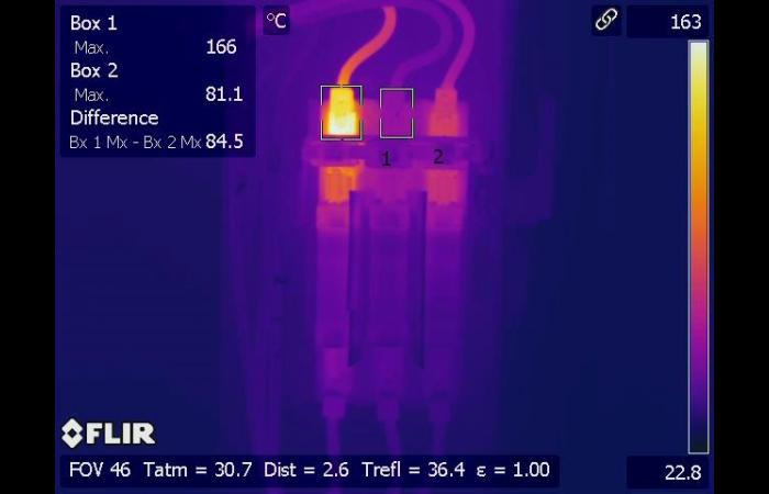 Infrared inspection defective fuse connection 0 - Infrared Electrical Inspection